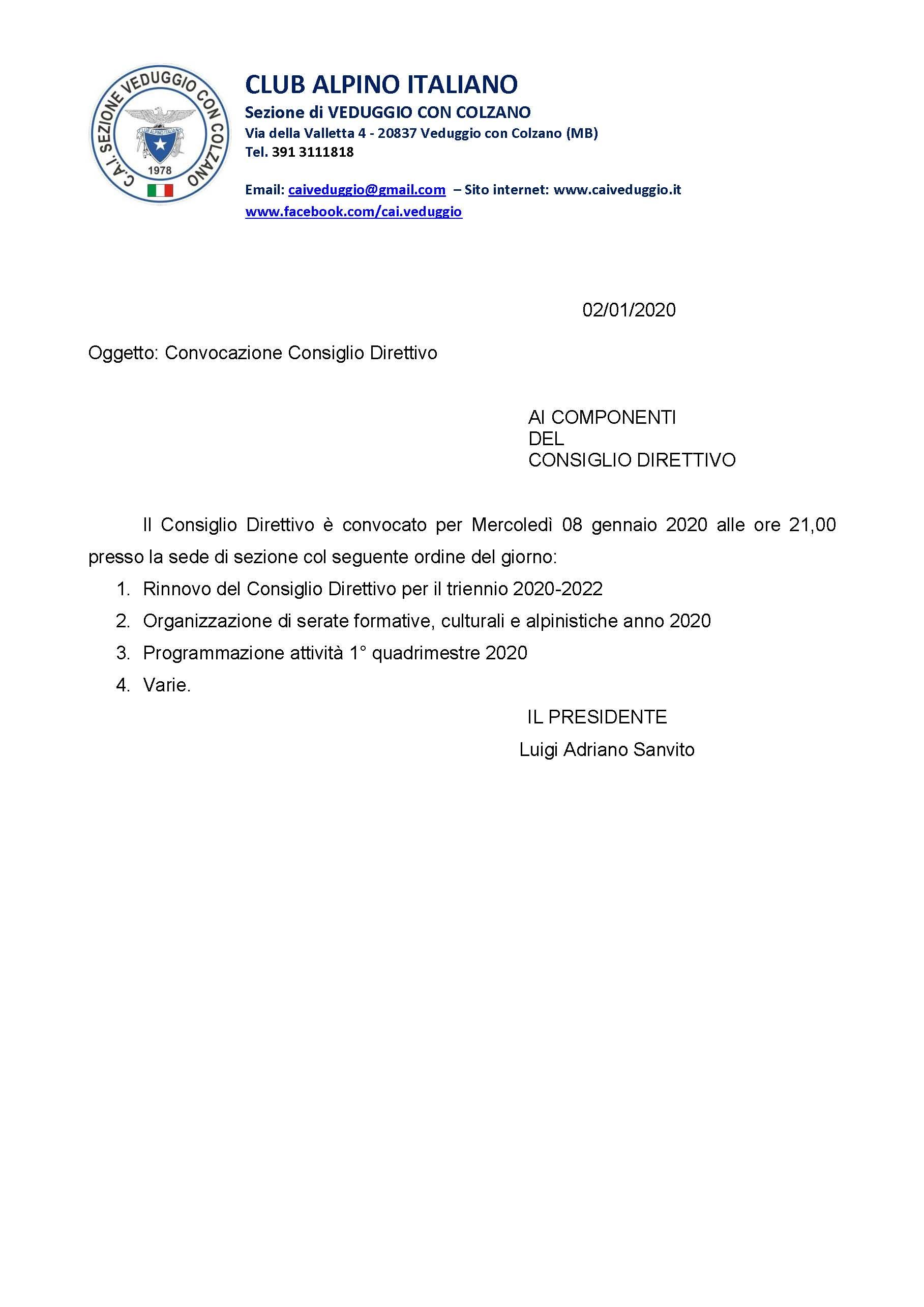 Mercoledi' 8 gennaio 2020 – Convocazione Consiglio Direttivo