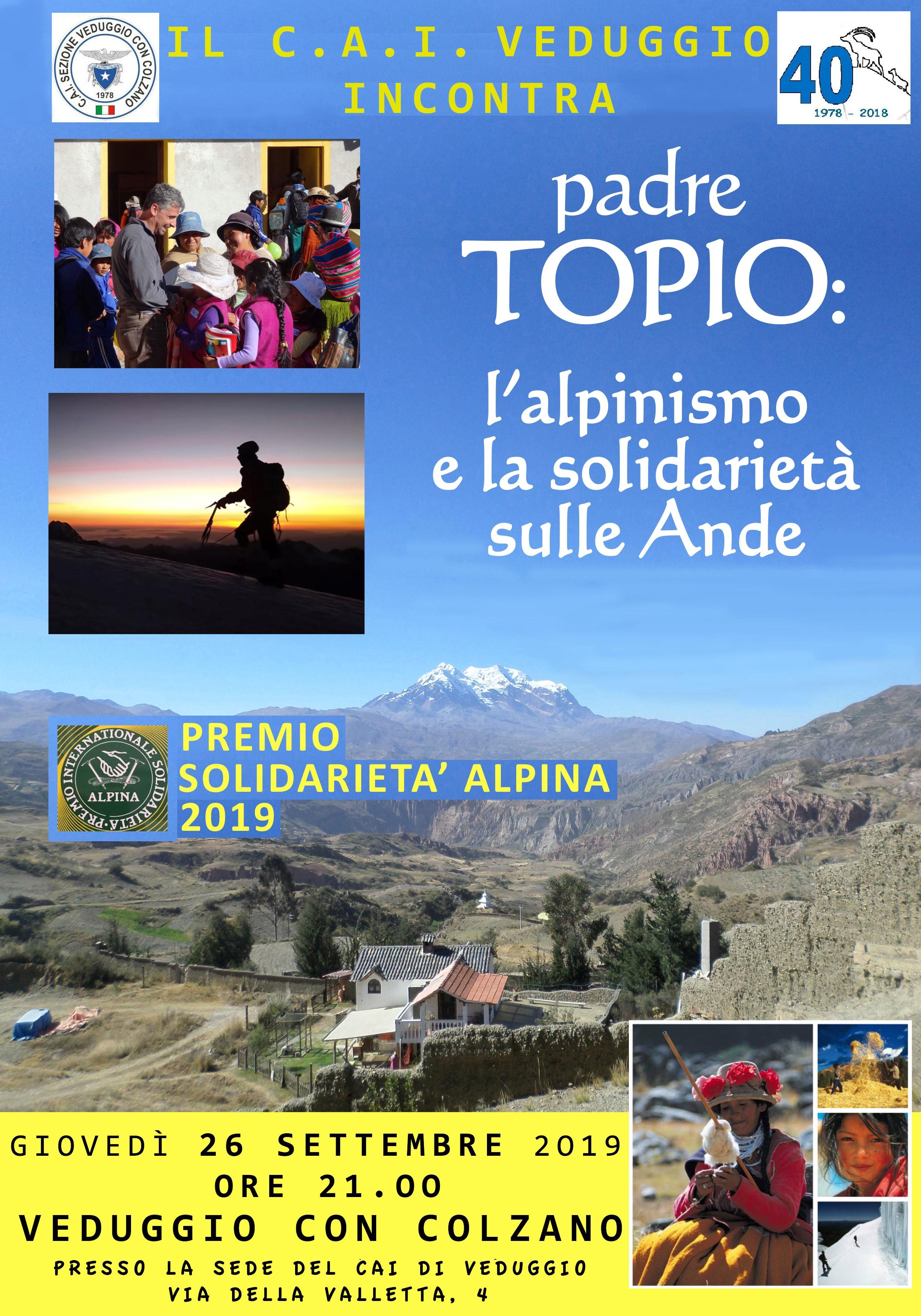 Giovedì 26 settembre 2019 – Incontro con padre Topio – L'alpinismo e la solidarietà sulle Ande