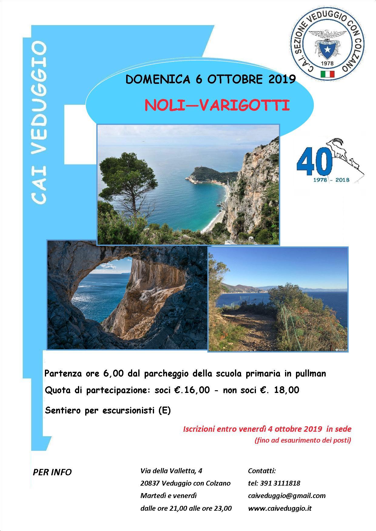 Domenica 6 ottobre 2019 – Escursione lungo il mare da Noli a Varigotti