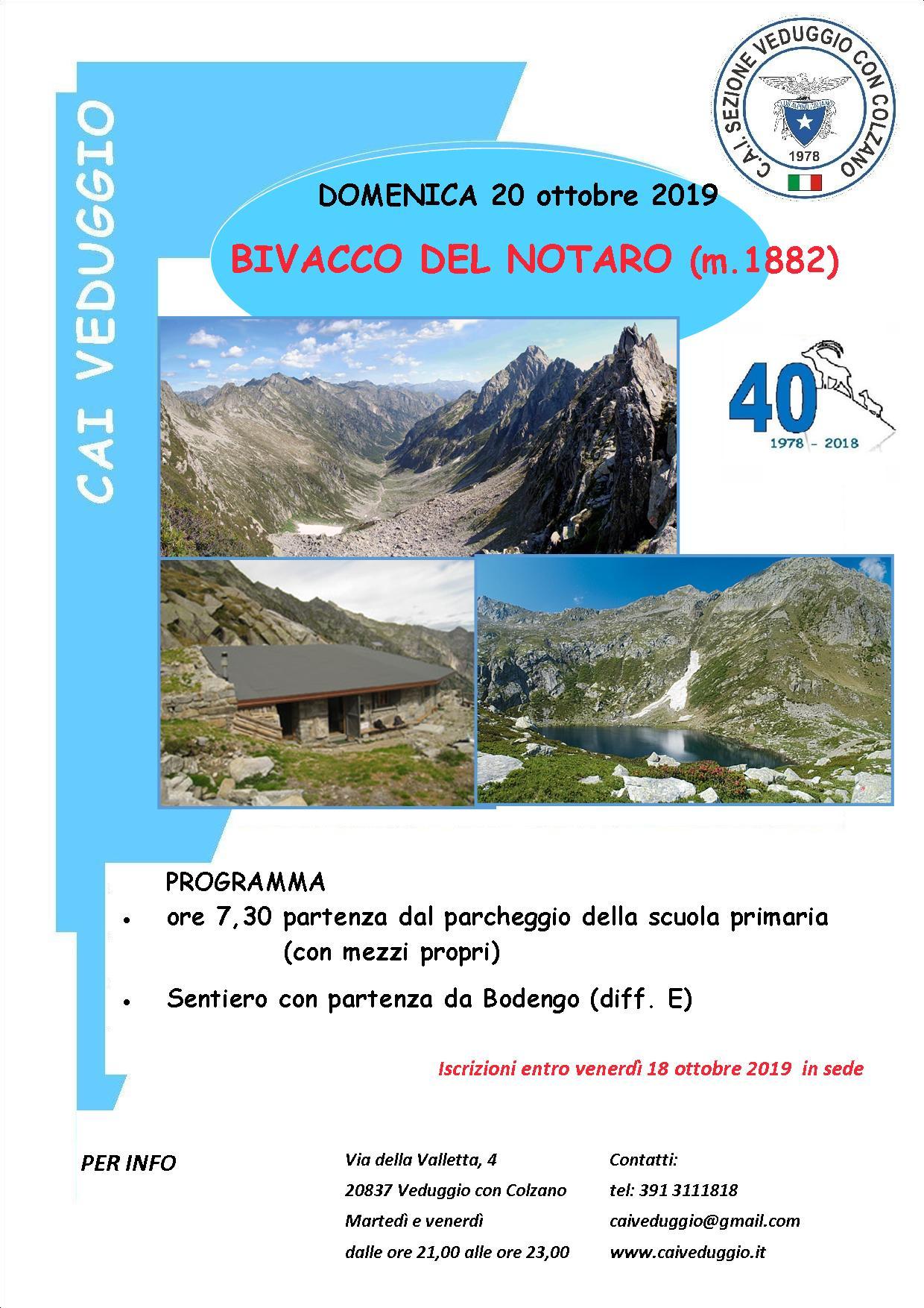 Domenica 20 ottobre 2019 – Bivacco del Notaro (Val Bodengo)