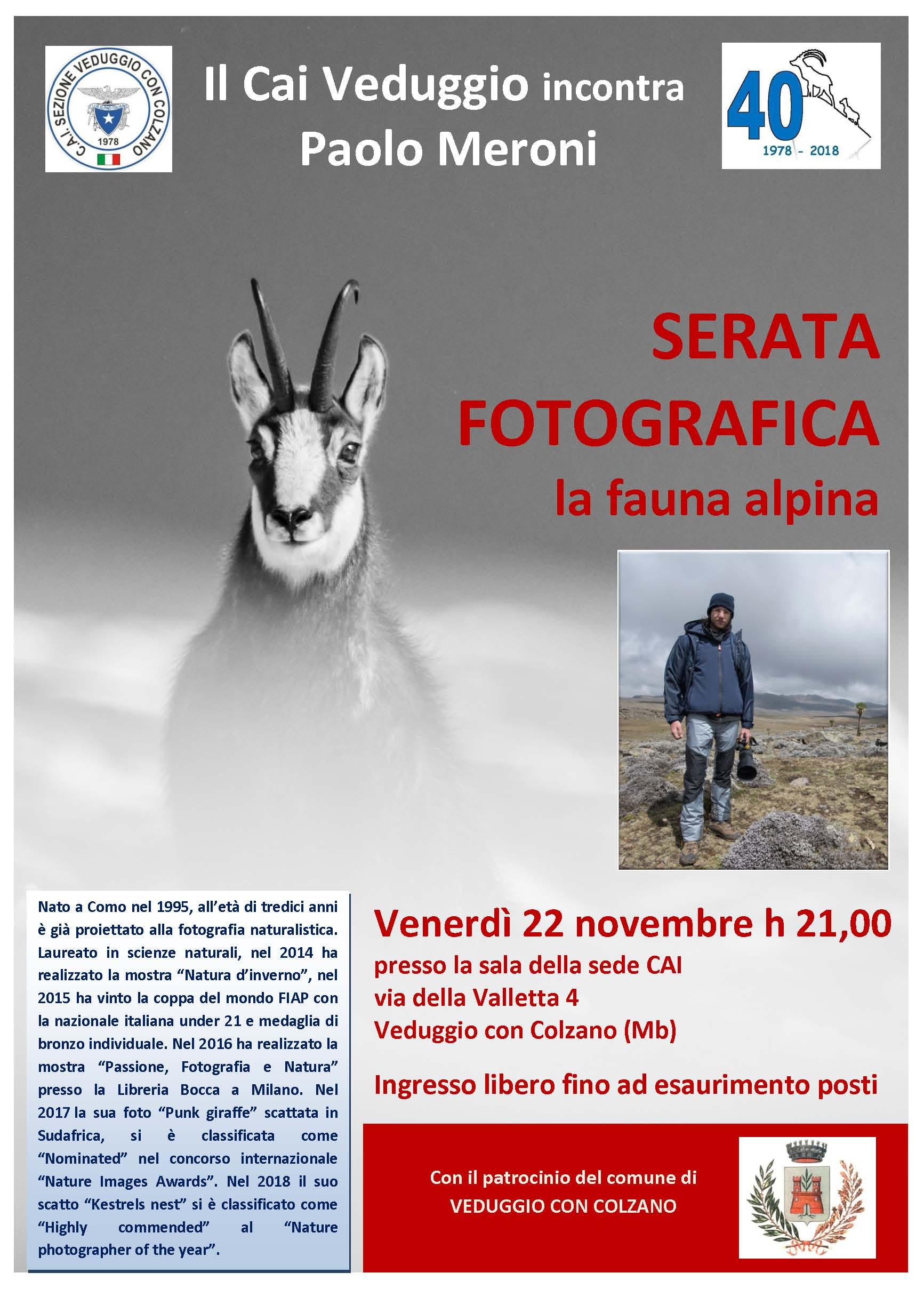 Venerdì 22 novembre 2019 – Incontro con Paolo Meroni, fotografo naturalista
