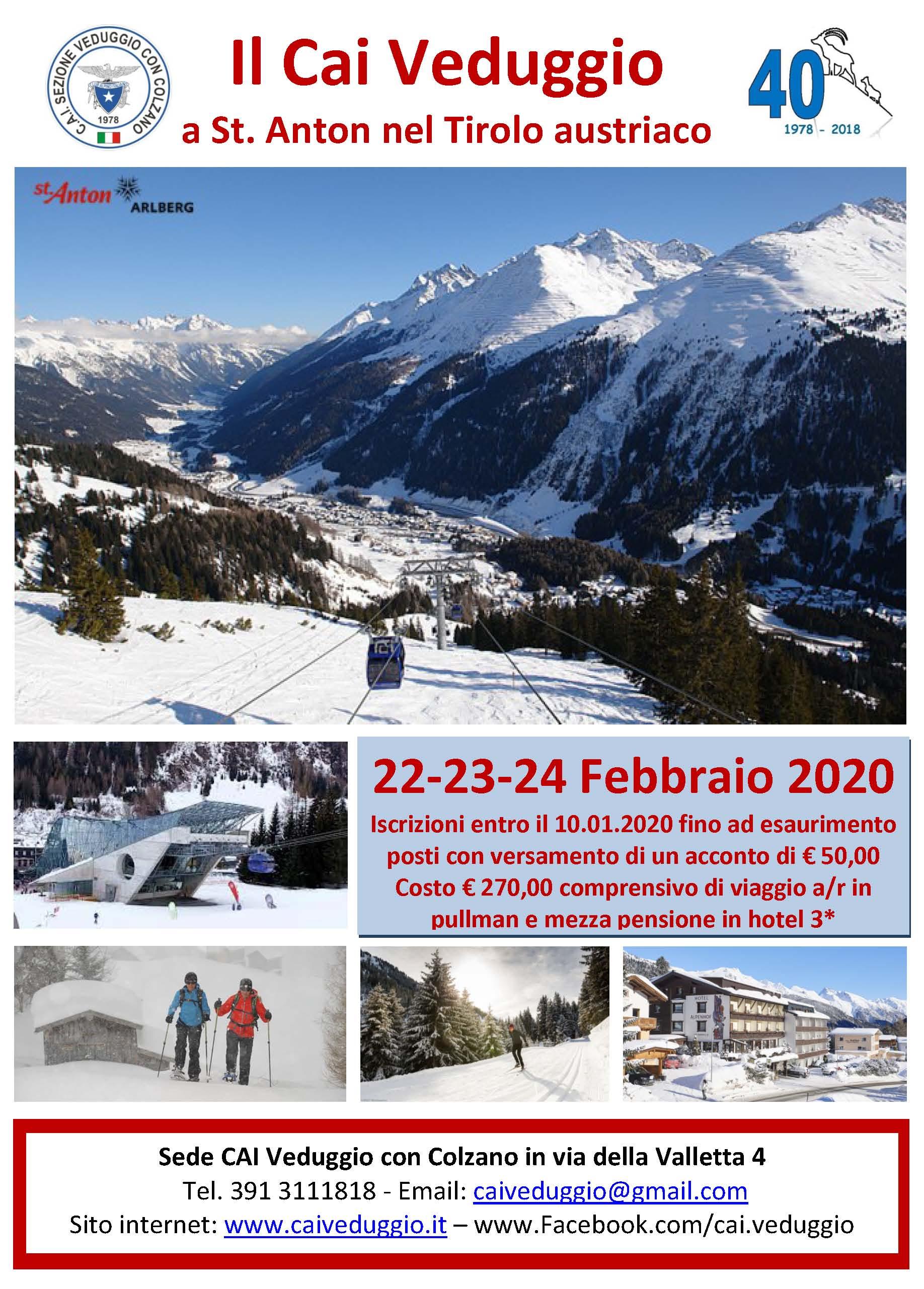 Week end sulla neve – St. Anton – 22/23/24 febbraio 2020