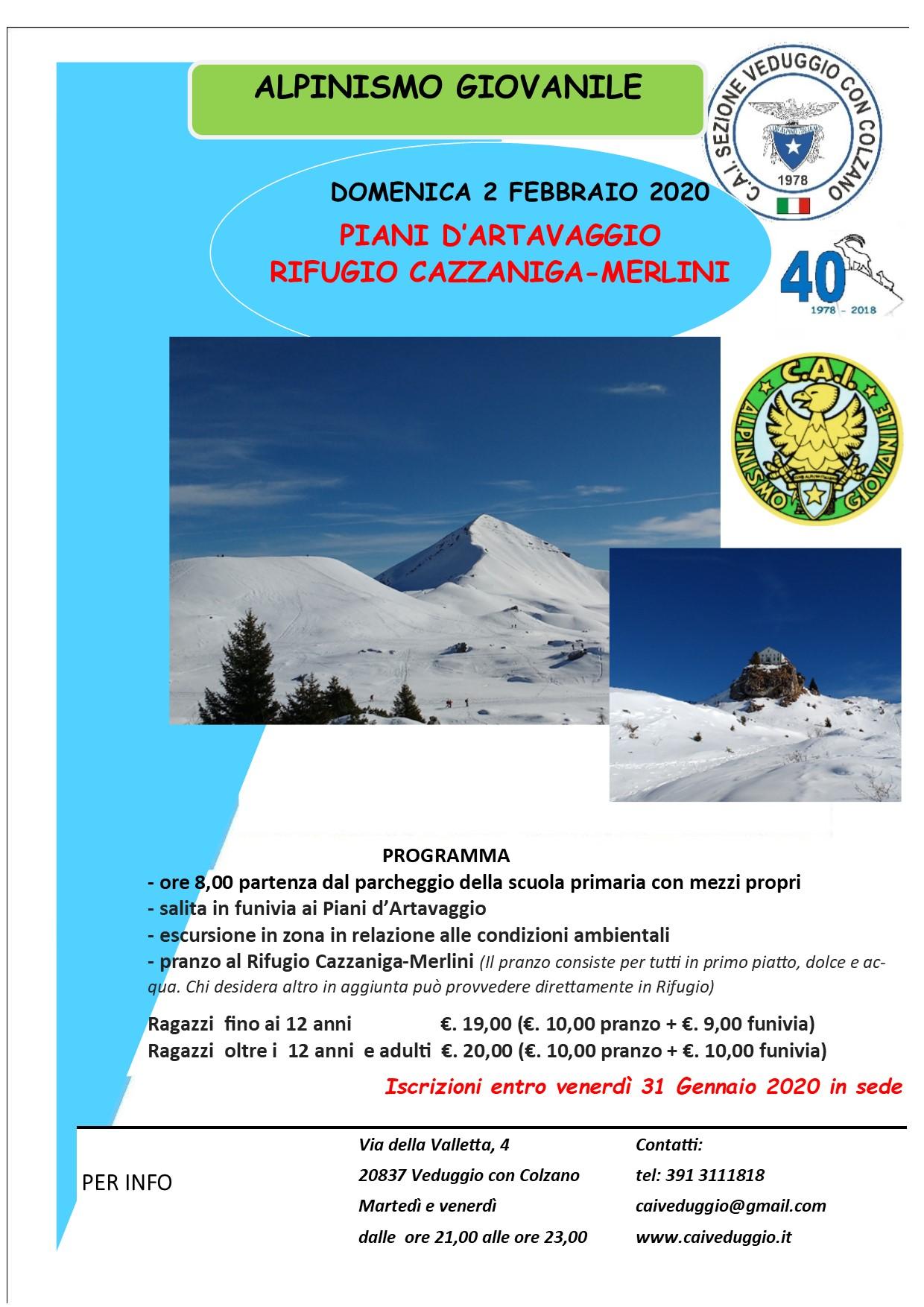 Domenica 2 febbraio 2020 – Alpinismo Giovanile – Rifugio Cazzaniga/Merlini