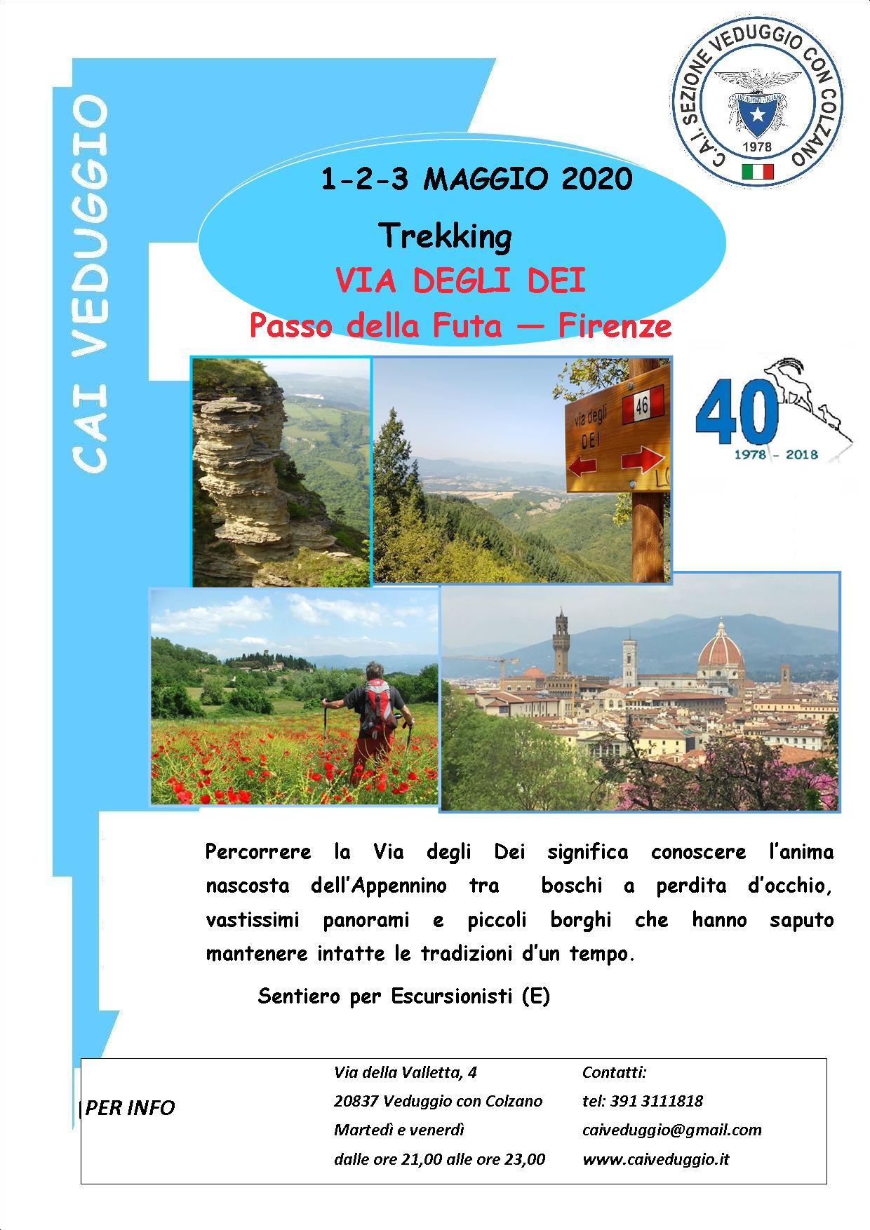 1-2-3 maggio 2020 – Trekking lungo la Via degli Dei – Passo della Futa/Firenze