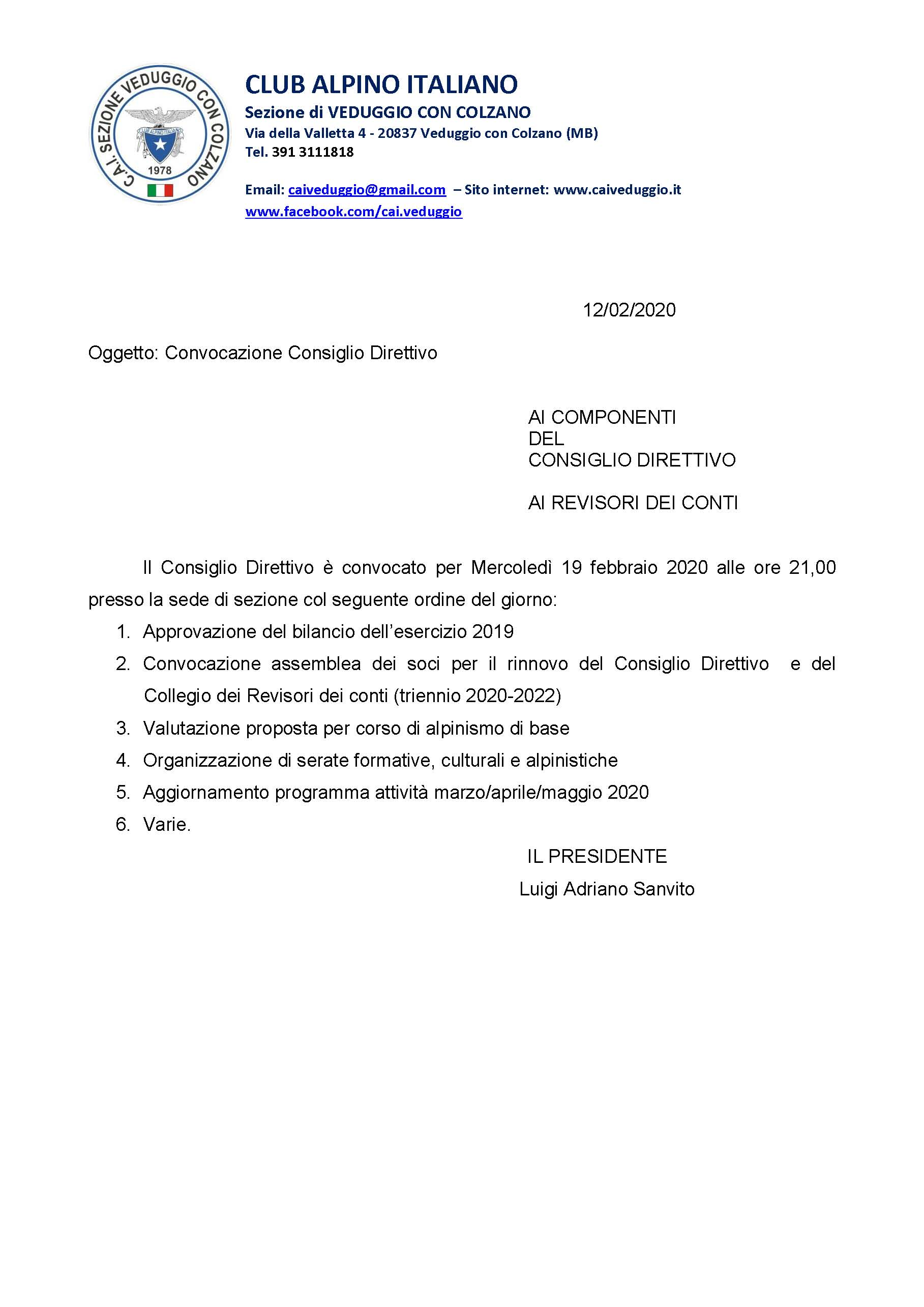Mercoledi' 19 febbraio 2020 – Convocazione Consiglio Direttivo