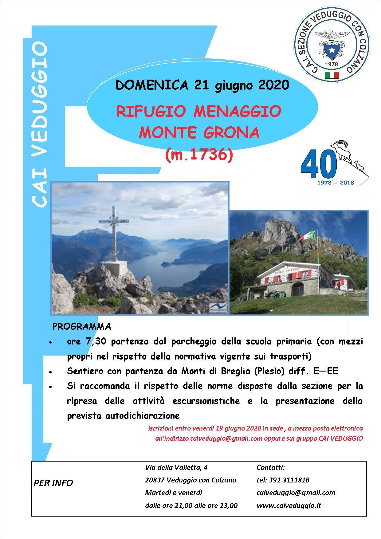 Domenica 21 giugno 2020 – Escursione al Rifugio Menaggio e al Monte Grona (m. 1736)