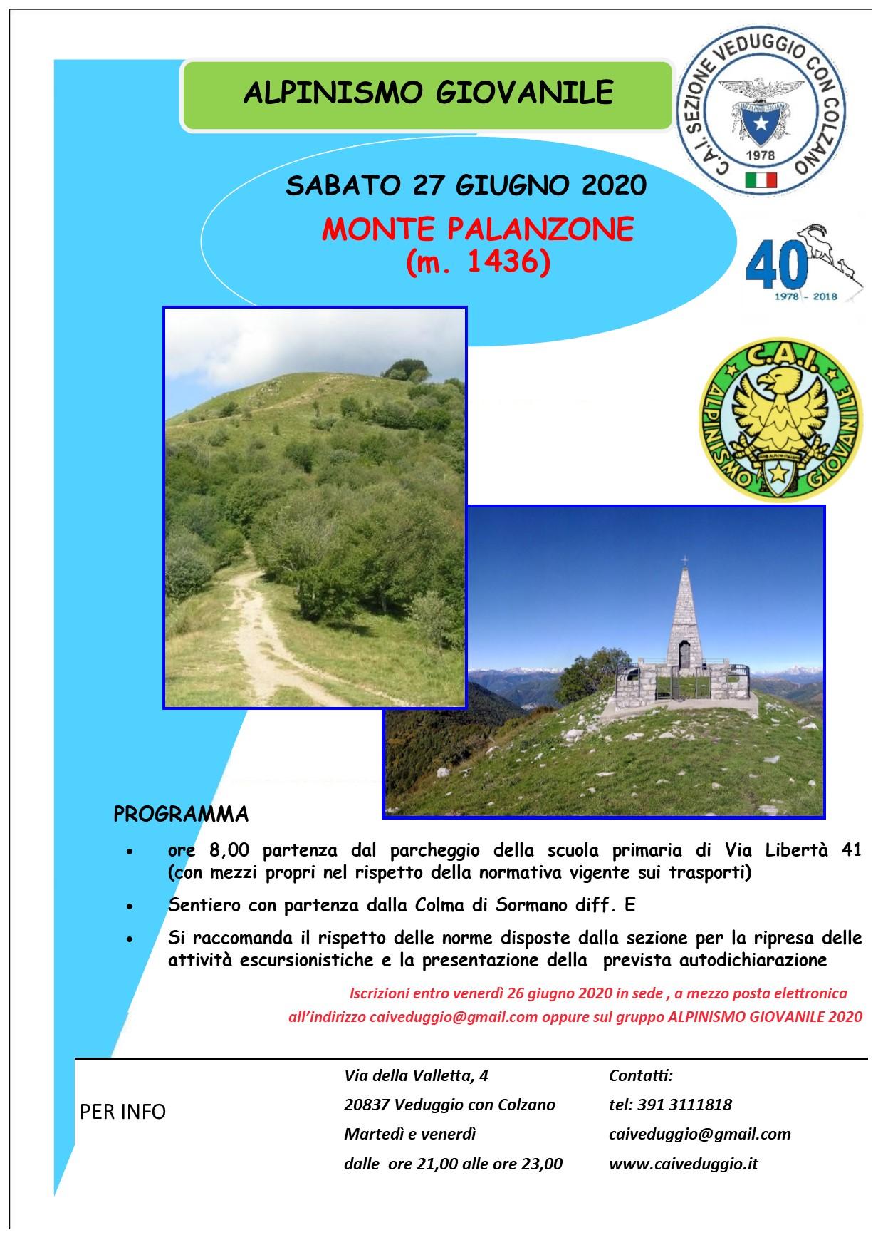 Sabato 27 giugno 2020 – Alpinismo Giovanile – Escursione al Monte Palanzone
