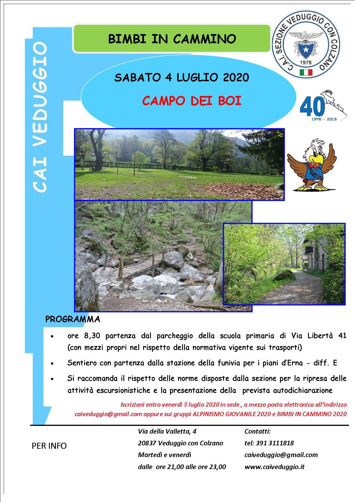 Sabato 4 luglio 2020 -Bimbi in cammino – Escursione al Campo dei boi