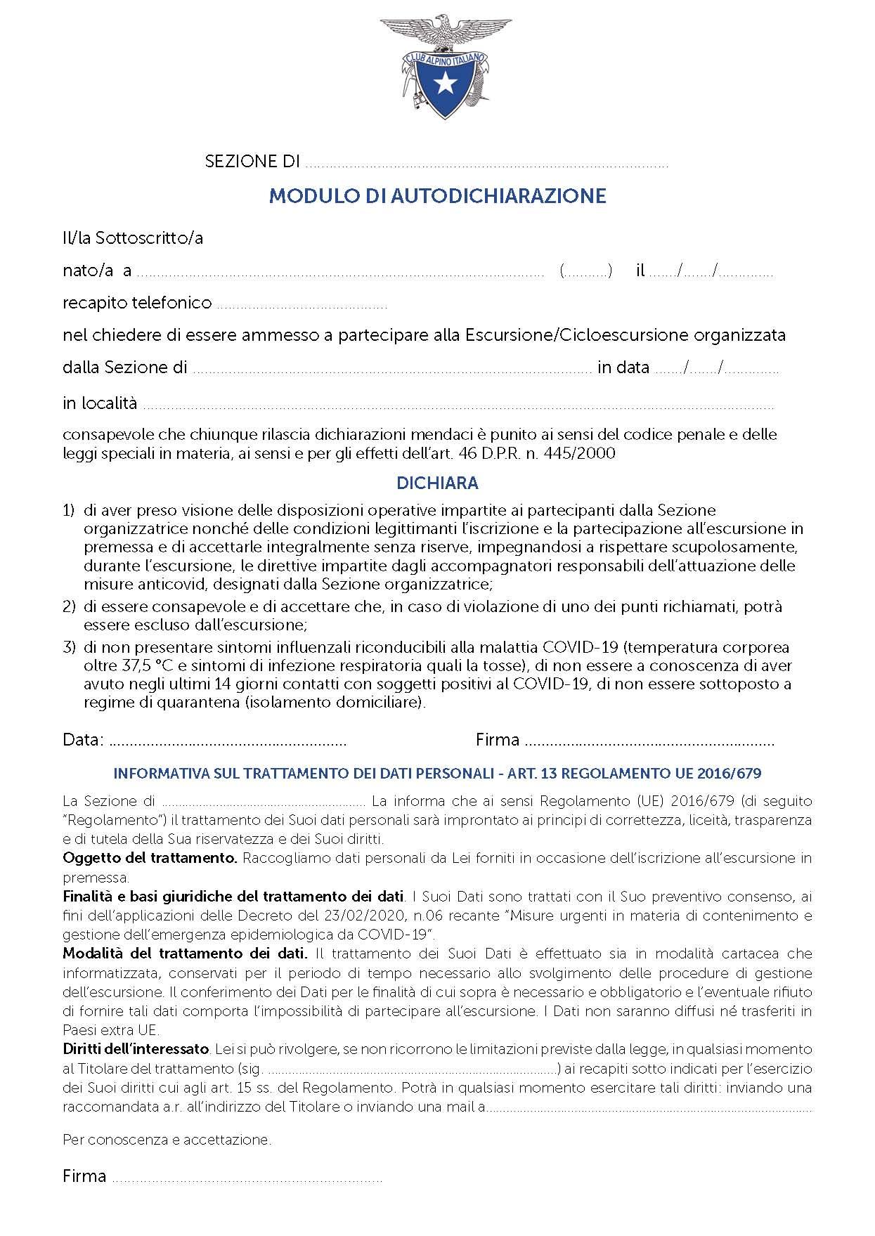MODELLO DI AUTODICHIARAZIONE PER PARTECIPAZIONE ALLE ESCURSIONI