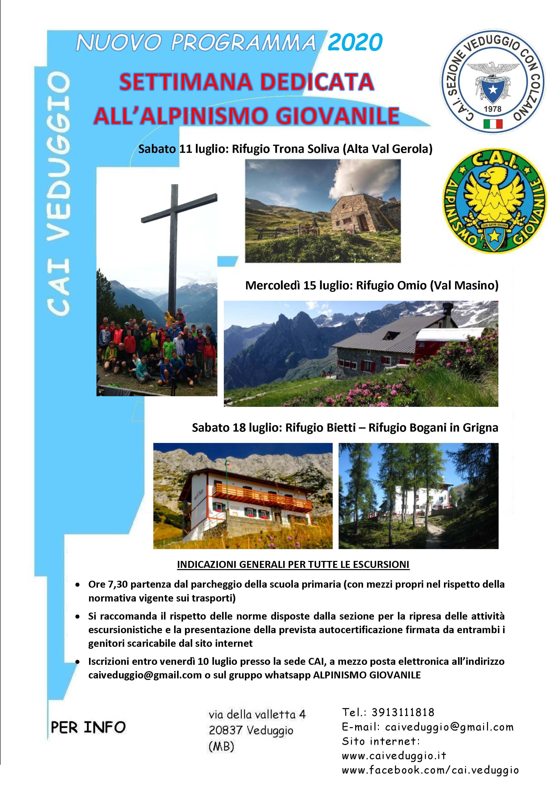 Sttimana dedicata all'Alpinismo Giovanile