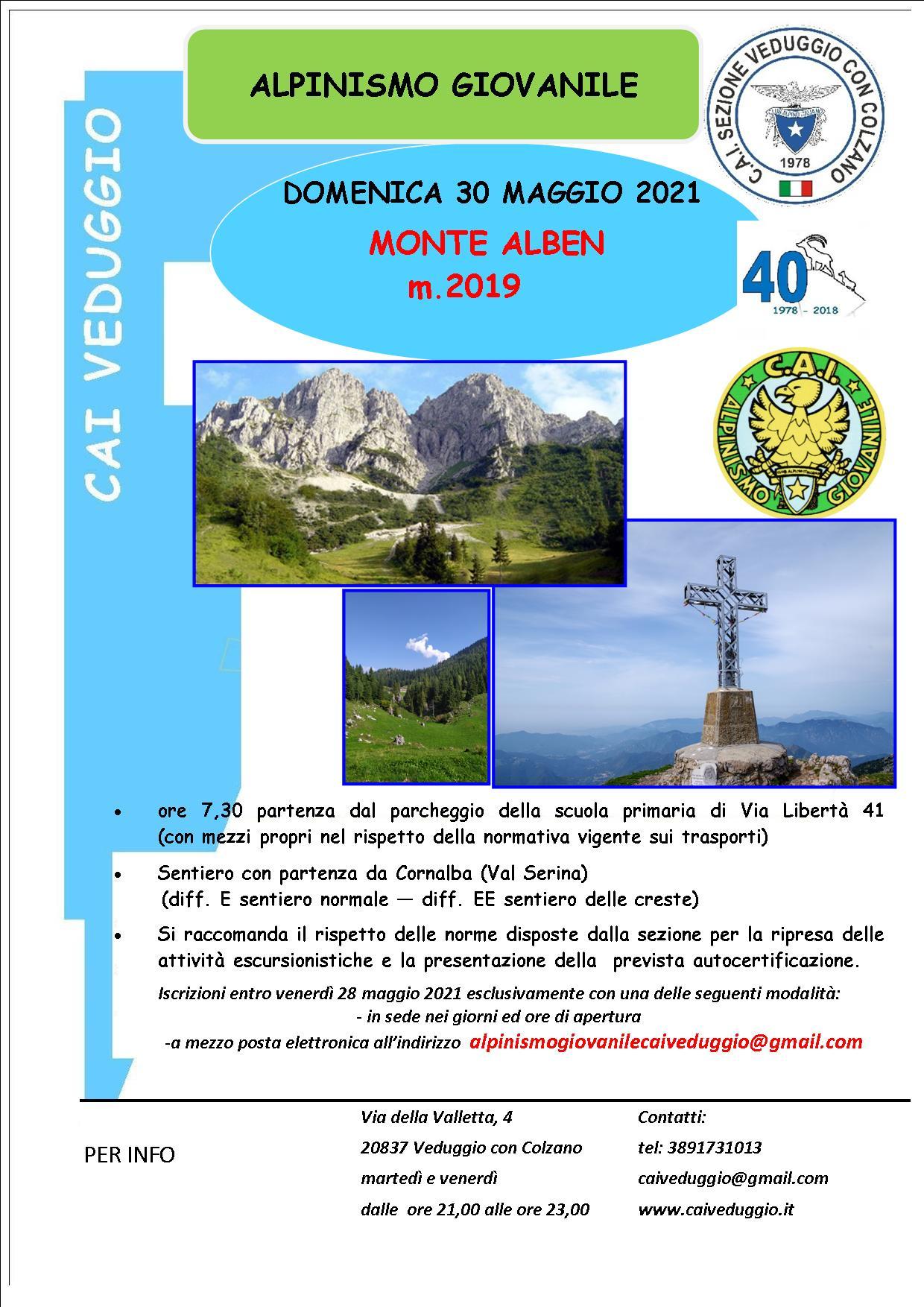 Domenica 30 maggio 2021 – Monte Alben – Baita Piazzoli