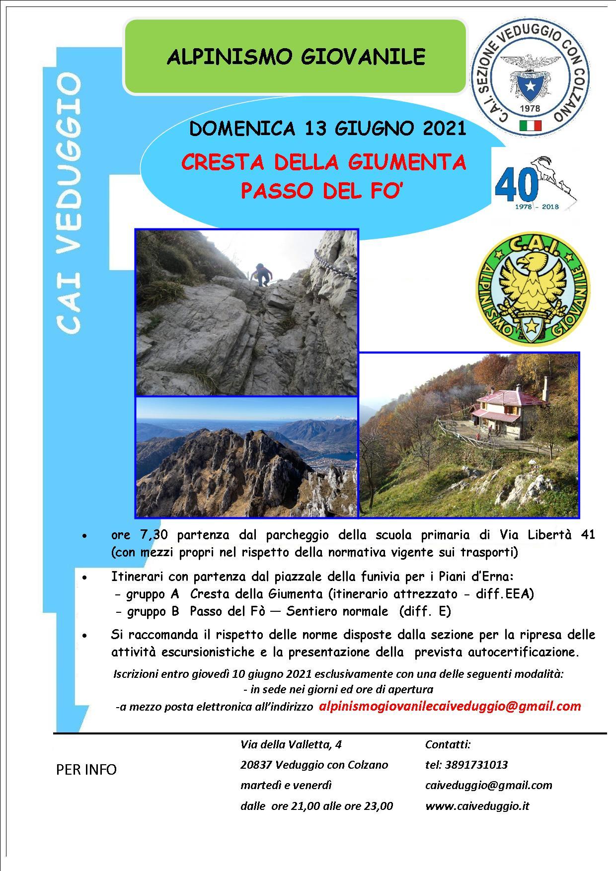 Domenica 13 giugno 2021 – Cresta della Giumenta – Passo del Fò – Alpinismo Giovanile