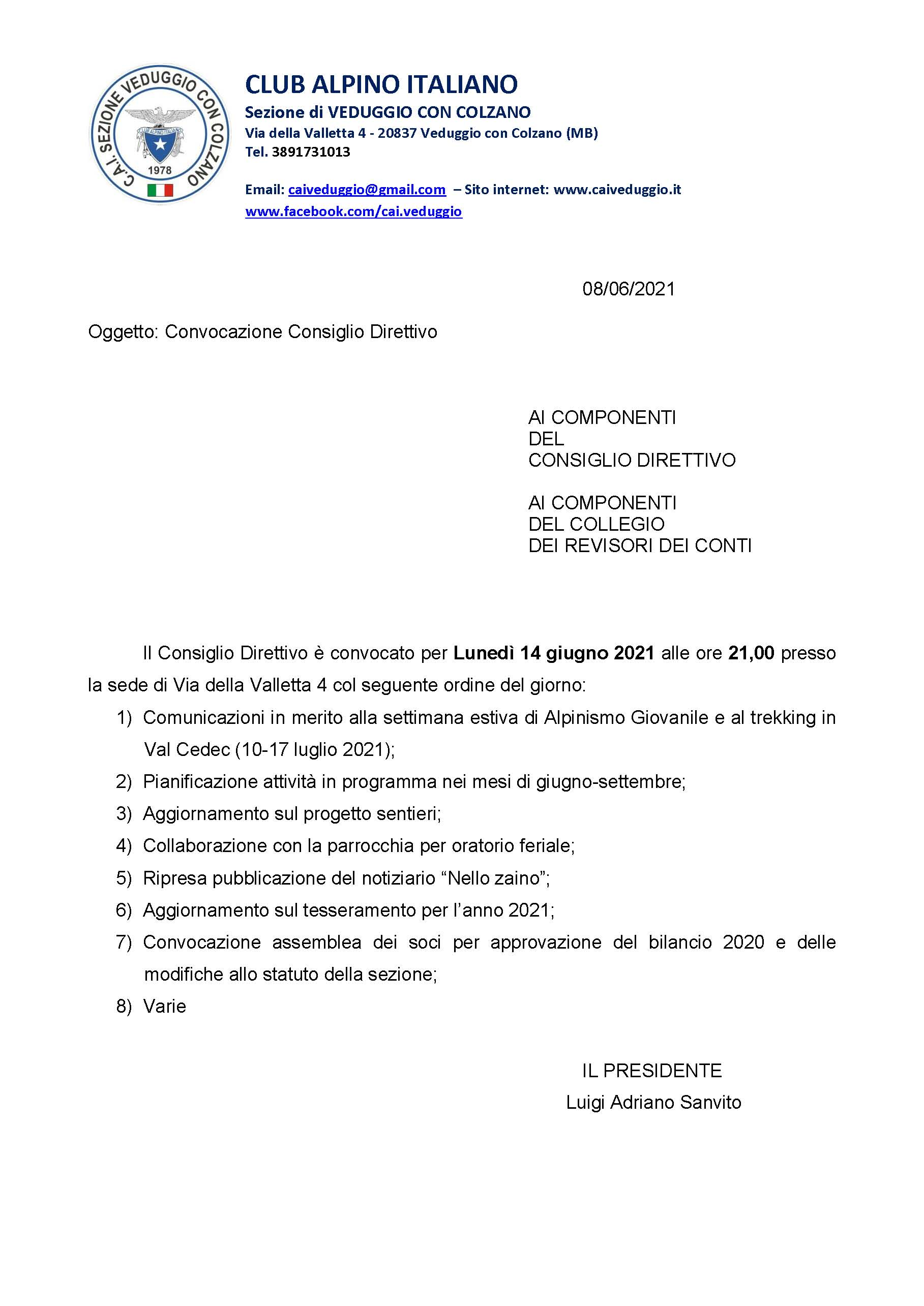 Convocazione Consiglio Direttivo