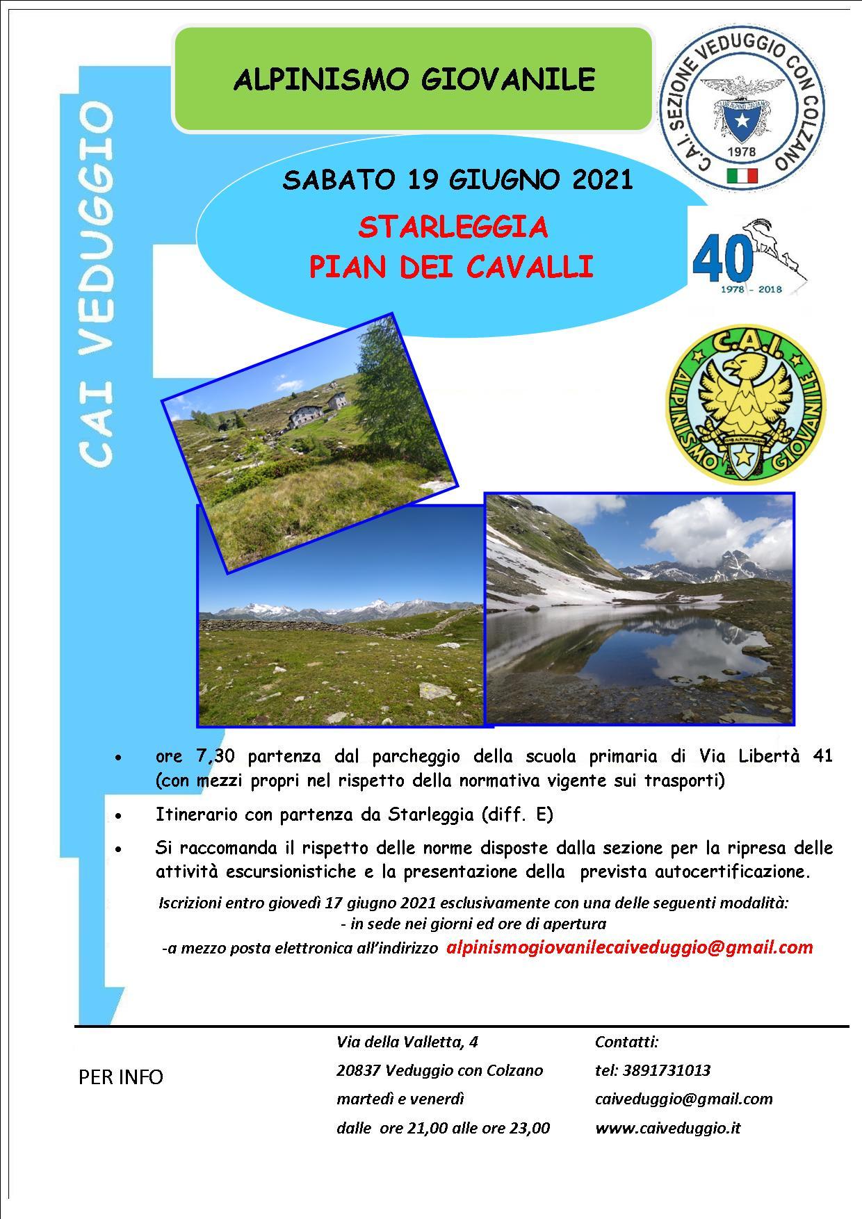 Sabato 19 giugno 2021 – Starleggia/Pian dei cavalli – Alpinismo giovanile