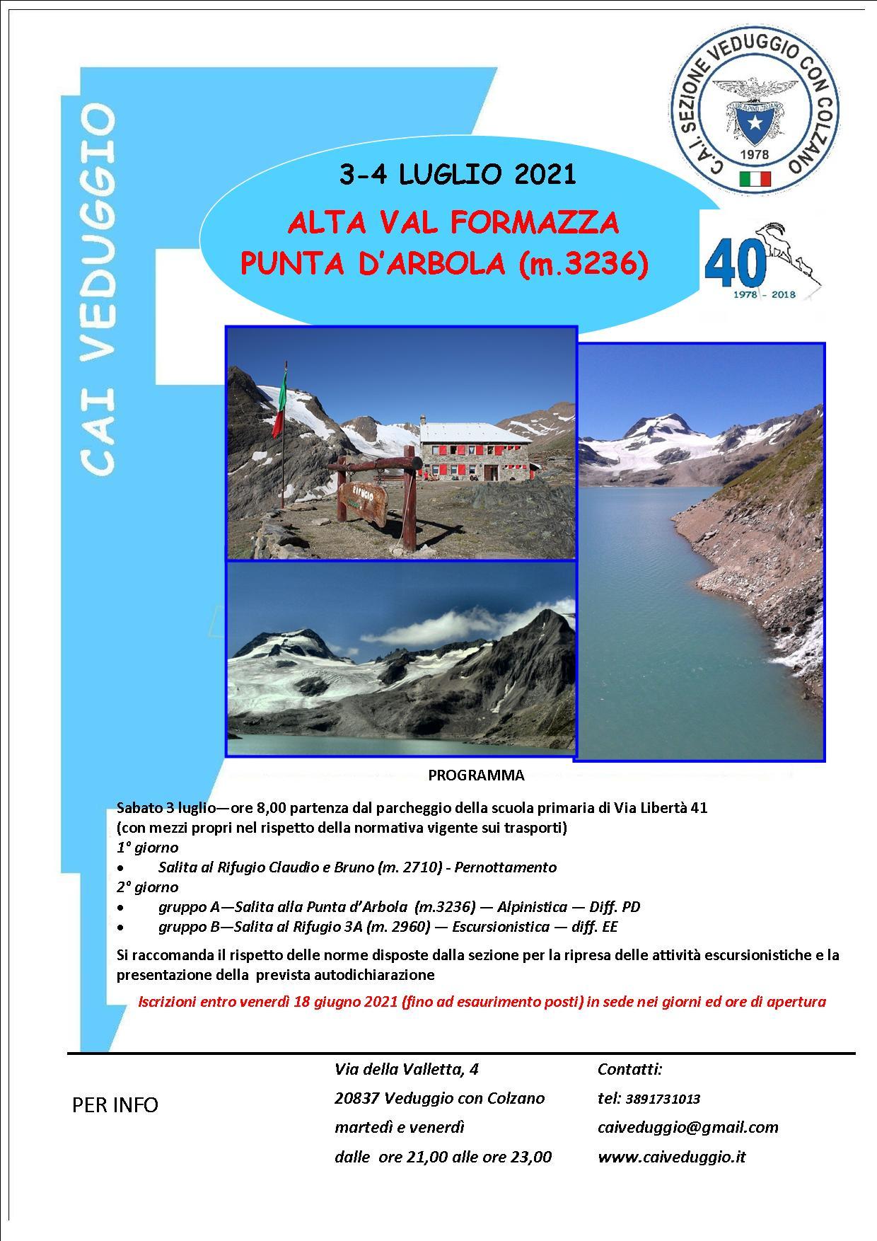 Sabato 3/Domenica 4 luglio 2021 – Alta Val Formazza – Punta d'Arbola
