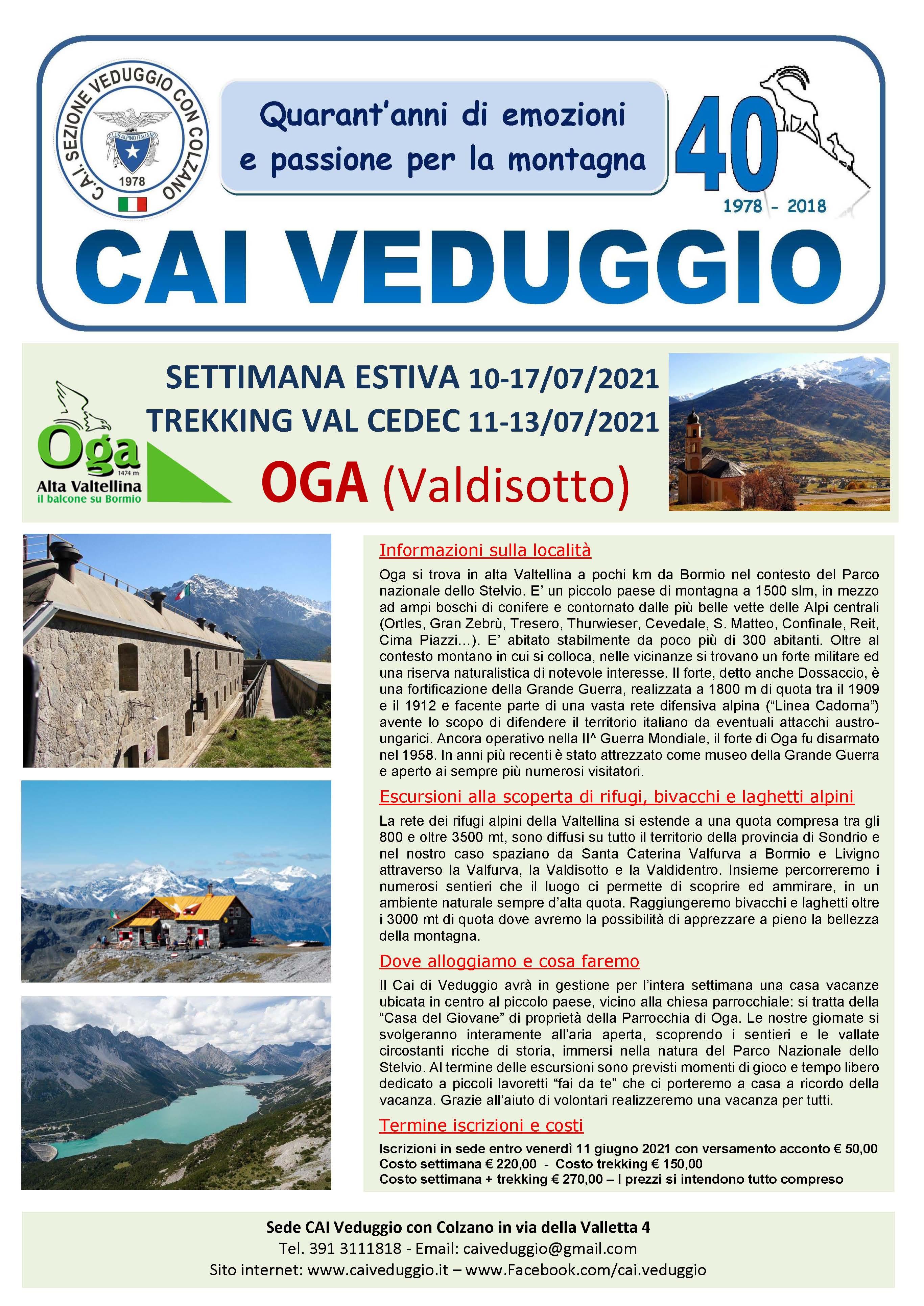 10-17 luglio 2021 – OGA (Valdisotto) – Settimana estiva di alpinismo giovanile